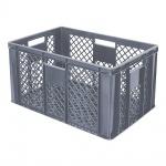 Stapelbehälter / Bäckerkiste mit 4 Durchfassgriffen, LxBxH 600 x 400 x 320 mm, grau