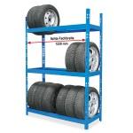 Reifenregal mit 3 Regalebenen, BxTxH 1300 x 500 x 1950 mm, für Reifen bis Ø 680 mm