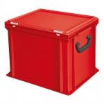 Kunststoffkoffer / Eurokoffer mit 2 Tragegriffen, LxBxH 400 x 300 x 330 mm, rot