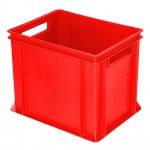 Stapelbehälter / Eurobehälter mit 2 Durchfassgriffen, LxBxH 400 x 300 x 320 mm, rot, Boden/Wände geschlossen