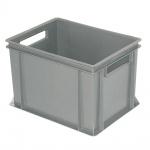 Stapelbehälter / Eurobehälter mit 2 Durchfassgriffen, LxBxH 400 x 300 x 220 mm, grau, Boden/Wände geschlossen
