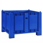 Palettenbox mit 4 Füßen, LxBxH 1200x800x850 mm, blau, Boden/Wände geschlossen. Tragkraft 500 kg