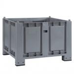 Palettenbox mit 4 Füßen, LxBxH 1200x800x850 mm, grau, Boden/Wände geschlossen, Tragkraft 500 kg