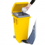 Tretabfalleimer mit Rollen, Inhalt 80 Liter, BxTxH 370 x 510 x 790 mm, Farbe gelb