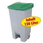 Abfallsammler / Müllbehälter 120 Liter, mit Fußbedienung, Korpus grau / Deckel grün