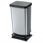 Tretabfalleimer, Inhalt 40 Liter, HxBxT 676 x 295 x 353 mm, schwarz/silbermetallic