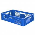 Stapelbehälter / Eurobehälter mit 4 Durchfassgriffen, LxBxH 600 x 400 x 150 mm, blau