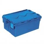 Mehrwegbehälter mit anscharnierten Deckeln, Farbe blau, LxBxH 600 x 400 x 265 mm