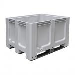 Großbox / Großbehälter mit 3 Kufen, LxBxH 1200 x 1000 x 760 mm, flüssigkeitsdicht, Einzeltragkraft pro Box bis zu 600 kg, kältebeständig bis -40ºC