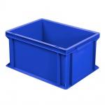 Stapelbehälter / Eurobehälter mit 2 Griffleisten, LxBxH 400 x 300 x 220 mm, blau, Boden/Wände geschlossen