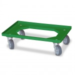 Transportroller Für Eurobehälter 600 x 400 mm, grün, 4 Lenkrollen, graue Gummiräder