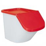 Zutatenspender, Inhalt 40 Liter, LxBxH 610 x 430 x 450 mm, Behälter weiß, Deckel rot