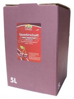 Sauerkirschsaft vom Bleichhof, 100%Direktsaft ohne Zusätze Bag-in-Box mit Zapfsystem(5LSaftbox) vegan - Vorschau 1