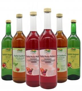 Bleichhof Apfelmischsäfte mit Gemüse - 2x Apfelsaft mit Ingwersaft 0, 72L, 2x Apfelsaft mit Rote Rübensaft 0, 72L, 2x Apfelsaft mit Selleriesaft 0, 72L (6x0, 72L)