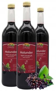 Bleichhof Holundersaft - 100% Direktsaft, OHNE Zuckerzusatz, 3er Pack (3x 0, 72l)