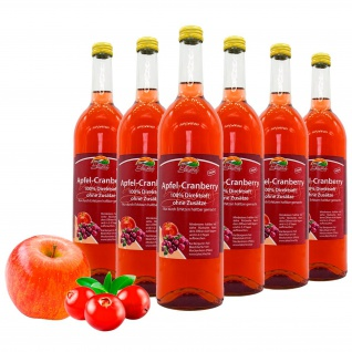 Bleichhof Apfel-Cranberry Direktsaft - 100% Direktsaft, vegan (6x 0, 72l)
