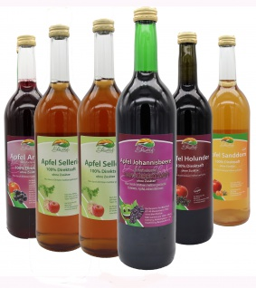 Bleichhof Saftmix - Apfelsaft-Aroniasaft, Apfel-Johannisbeersaft, 2x Apfelsaft mit Selleriesaft, Apfel-Sanddornsaft, Apfel-Holundersaft (6x0, 72L)