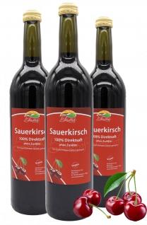 Bleichhof Sauerkirschsaft - 100% Direktsaft OHNE Zuckerzusatz, vegan (3x 0, 72l)