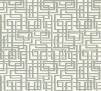 Labyrinth Muster Grafik Retro Vlies Tapete grau weiß Palila 363121