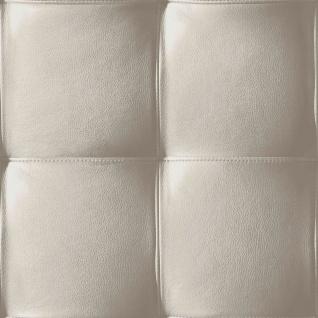 Vlies Tapete Design Leder Polster Optik taupe / toop grau skin leather modern