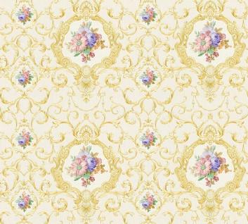 Vlies Tapete Ranken Barock Ornament Blumen creme gold glanz 34391-1 Chateau 5