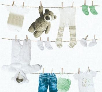 Kinder Vliestapete Wäscheleine Teddy Bär Söckchen weiß mint blau 35844-2