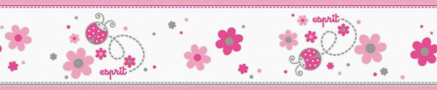 Esprit Kids Kinder Tapete Bordüre Blumen Marienkäfer weiß pink rosa 2193-12