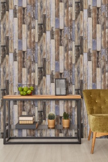 Vlies Tapete Antik Holz rustikal verwittert Paneele beige braun blau shabby used