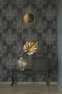 Vliestapete Kronleuchter Barock Ornament Perlen schwarz grau gold 38096-4