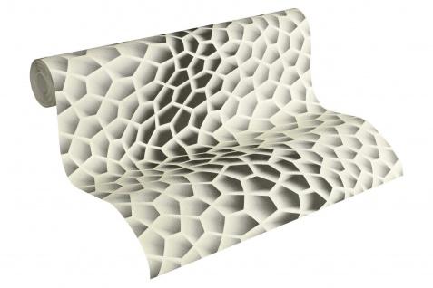 Vliestapete Retro 3D Wellen Muster creme grau Waben Design by Mac Stopa 32709-3