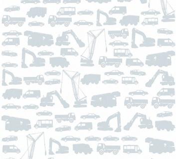 Kinder Vliestapete Bagger LKW Autos weiß silber 35815-2