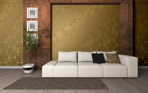 Vlies Tapete Retro Design Kreise gold glänzend Spot abstrakt metallic