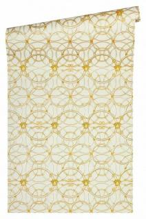Versace 4 Vlies Tapete grafische Kreise Medusa creme gold metallic 370491