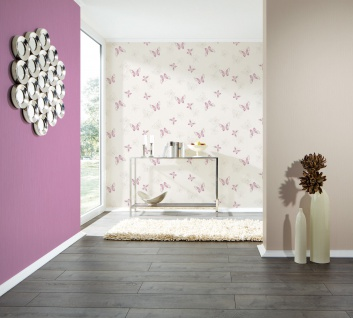 Vlies Tapete Schmetterlinge creme weiß lila pink flieder grau Girls - Vorschau 4