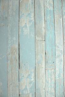 Vlies Tapete Antik Holz rustikal blau türkis beige bretter verwittert shabby