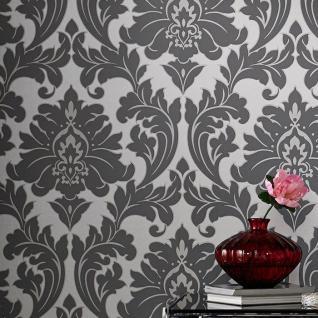 Vlies Tapete Barock Muster Ornament metallic effekt silber grau klassisch