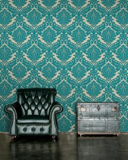 Vlies Tapete Barock Muster Ornament metallic effekt türkis gold klassisch