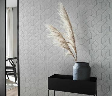 Vliestapete Carat grafisches Muster silber grau glänzend 10062-02 / 1006202