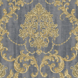 Vliestapete Barock Muster Ornament grau gold metallic 130304 Hochwertig