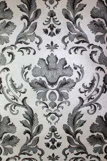 Barock Papier Präge Tapete klassisches Ornament schwarz weiß silber glanz effekt