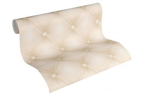 Luxus Vliestapete Leder Optik Chesterfield Diamant creme 34144-1 Hermitage