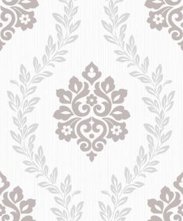 Vlies Tapete Barock Muster Ornament Glitzer effekt glänzend creme grau A23401