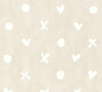 Vlies Tapete Herz Kreuz Punkt Muster beige grau Cozz 36294-3