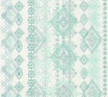Vliestapete Ethno Rauten Karo weiß türkis grün Boho Love 36466-1 - Vorschau 1
