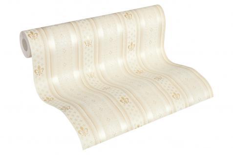 Vliestapete Streifen Heraldik Lilie creme weiß metallic Ornamente glanz 33542-4