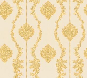 Vlies Tapete Barock Ornament Streifen creme gold metallic 34493-4 Chateau 5