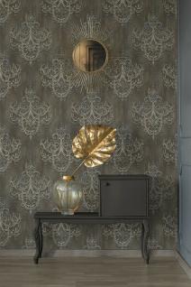 Vliestapete Kronleuchter Barock Ornament Perlen kiesel grau gold 38096-1