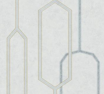 Vlies Tapete grafisches Retro Muster geometrisch weiß grau silber Palila 363143