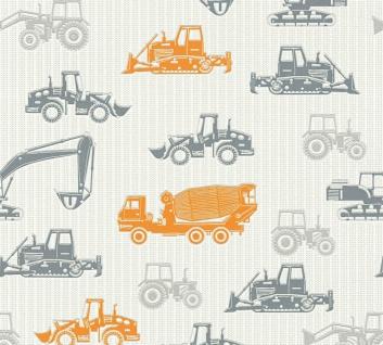 Esprit Kids 5 Vliestapete Baustelle Lkw Traktor orange grau 35706-3 / 357063
