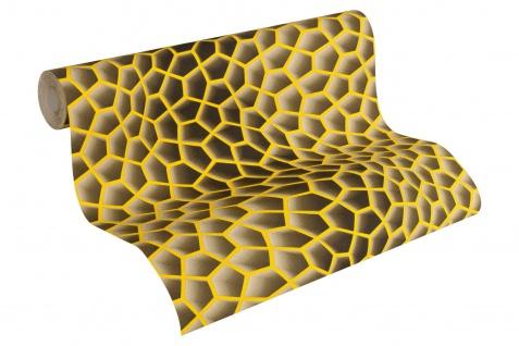 Vliestapete Retro 3D Wellen Muster braun gelb Waben Design by Mac Stopa 32709-5